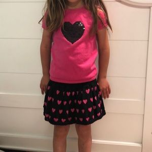 Other - Pink and black sweater and skirt hearts sequins